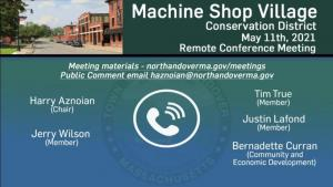 Machine Shop Village Conservation District Meeting - 05.11.2021