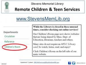 ![CDATA[ StevensMemLib Children & Teen Remote Services Flyer ]]