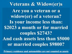 ![CDATA[ Veterans & Widow(er)s; Are you a veteran or a widow(er) of a veteran?  Is your income less than: ... ]]