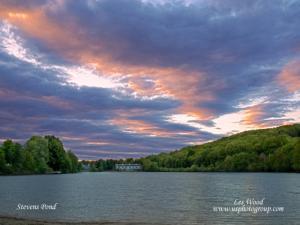 ![CDATA[ Leslie Wood - Sunset on Stevens Pond ]]