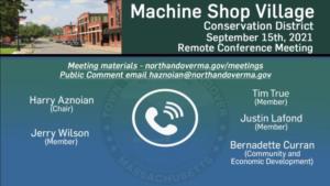 Machine Shop Village Conservation District Meeting - 09.15.2021